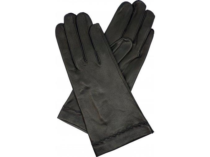 dámské kožené rukavice bezpodšívkové černá