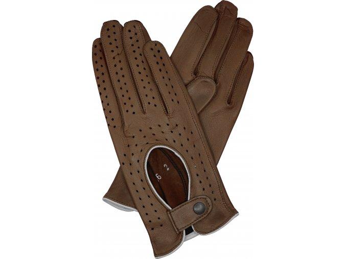 dámské kožené rukavice řidičské hnědá
