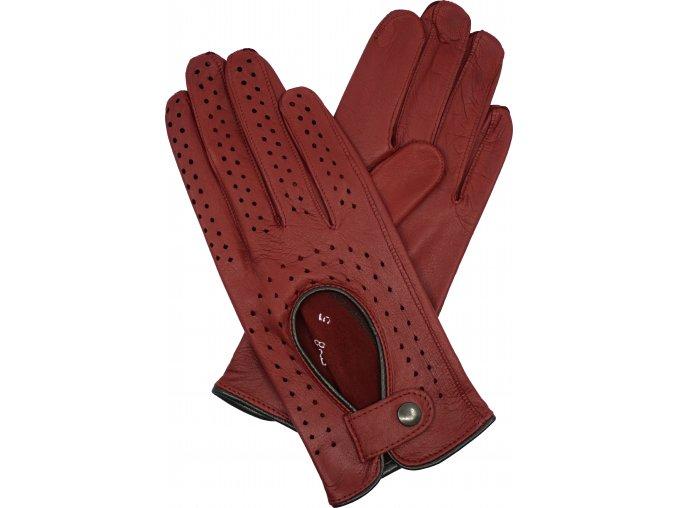 dámské kožené rukavice řidičské červená