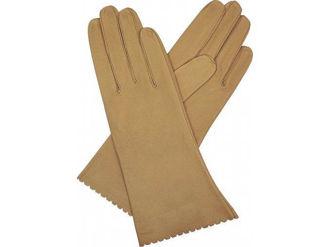dámské kožené rukavice bezpodšívkové hladké