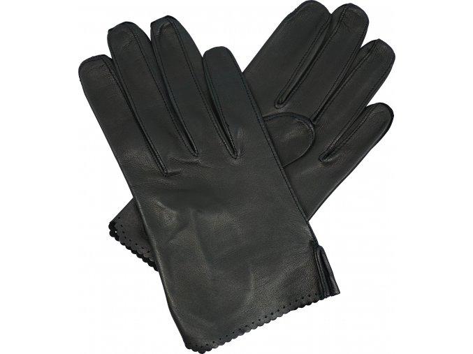 dámské rukavice bezpodšívkové černé výsek lem