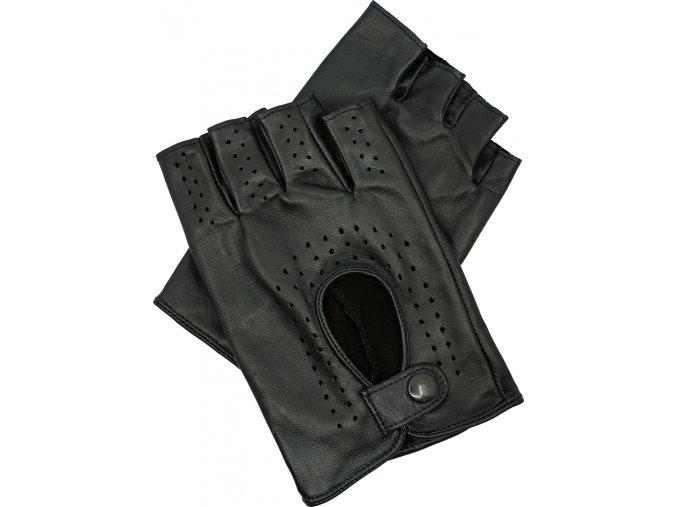 pánské kožené rukavice bezprsté černé