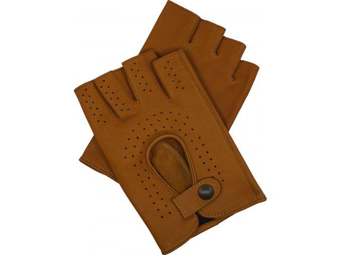 pánské kožené rukavice bezprsté koňak
