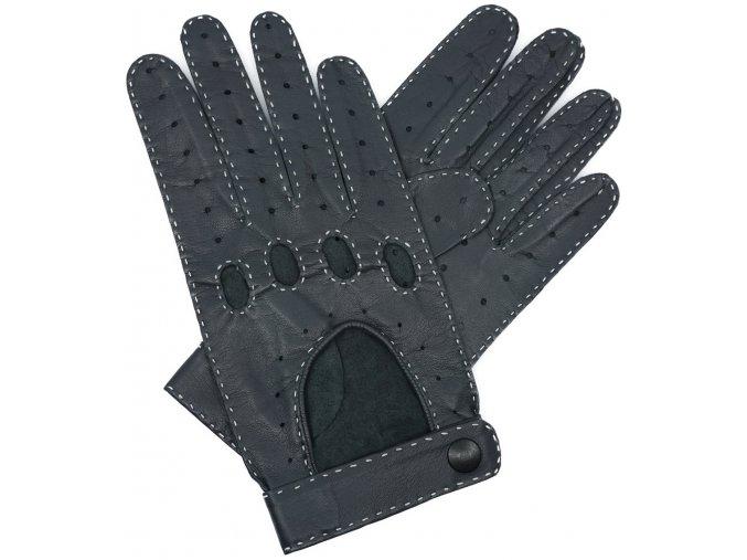 pánské kožené rukavice řidičské šedé druk
