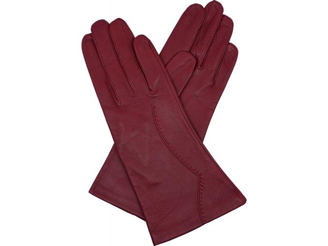 dámské kožené rukavice podšívka UH výšivka červená