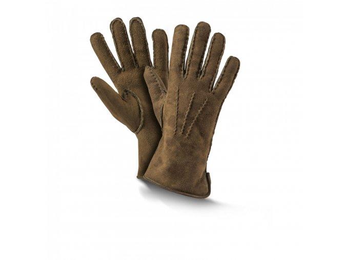dámské kožešinové rukavice PREMIUM oliva