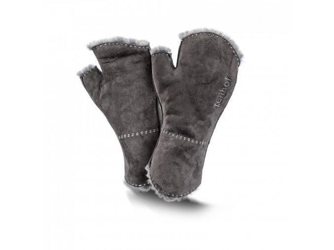 Kožešinové rukavice bezprsté STULPEN šedé