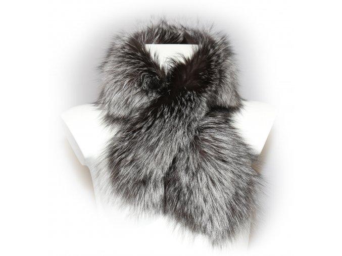 dámská kožešinová šálka s průvlekem liška stříbrná 1