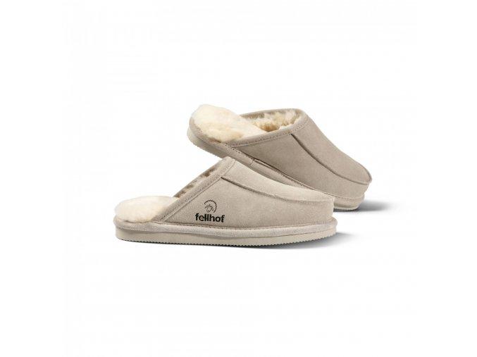 kvalitní kožešinové pantofle FANGO, barva písek