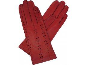 dámské rukavice bezpodšívkové červené výsek lístečky