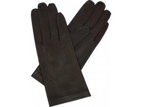 dámské rukavice bezpodšívkové hnědá hladké