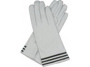 dámské kožené rukavice podšívka UH bílá černý proužek