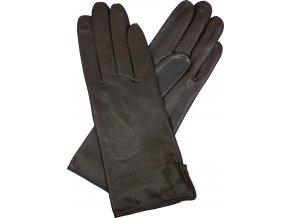 dámské kožené rukavice podšívka UH rozparek hnědá