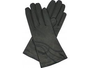 dámské kožené rukavice podšívka UH výšivka černá