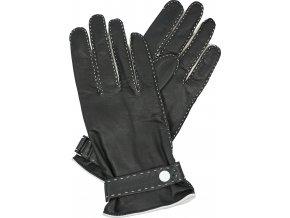dámské kožené rukavice podšívka UH pásek černá