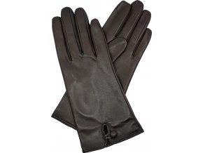 dámské kožené rukavice podšívka UH knoflík hnědá