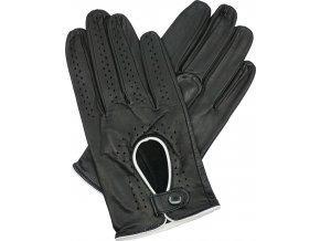 pánské kožené rukavice řidičské černé bílý lem