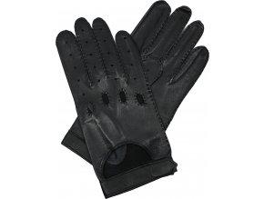 pánské kožené rukavice řidičské černé suchý zip