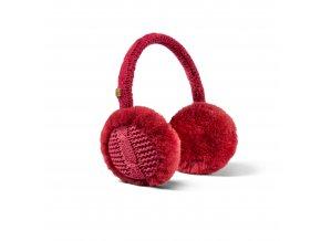 Klapky na uši s kožešinou červená