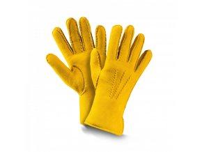 dámské kožešinové rukavice PREMIUM žlutá