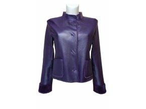 dámská jarní bunda kožešina fialová