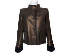 dámská jarní bunda kožešina zlatá