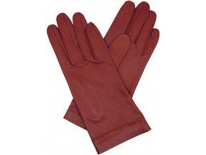 dámské kožené rukavice bezpodšívkové červená