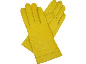 dámské kožené rukavice bezpodšívkové žlutá