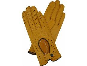 dámské kožené rukavice řidičské žlutá