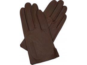 dámské rukavice bezpodšívkové hnědá rozparek