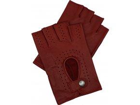 pánské kožené rukavice bezprsté červené