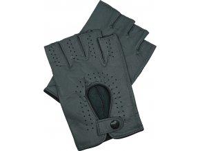pánské kožené rukavice bezprsté šedé
