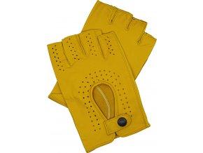 pánské kožené rukavice bezprsté žluté