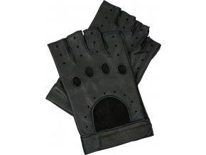 pánské kožené rukavice bezprsté suchý zip černé