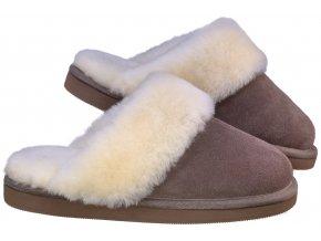 Kožešinové pantofle PRAKTIK hnědé