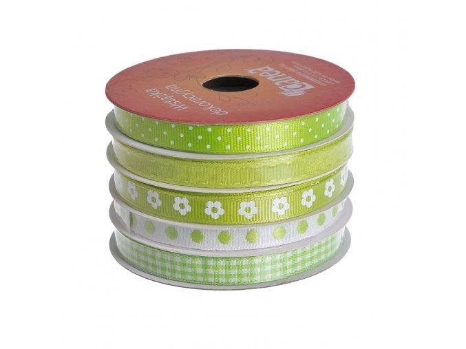 jarní stuhy mix x 5 zelená