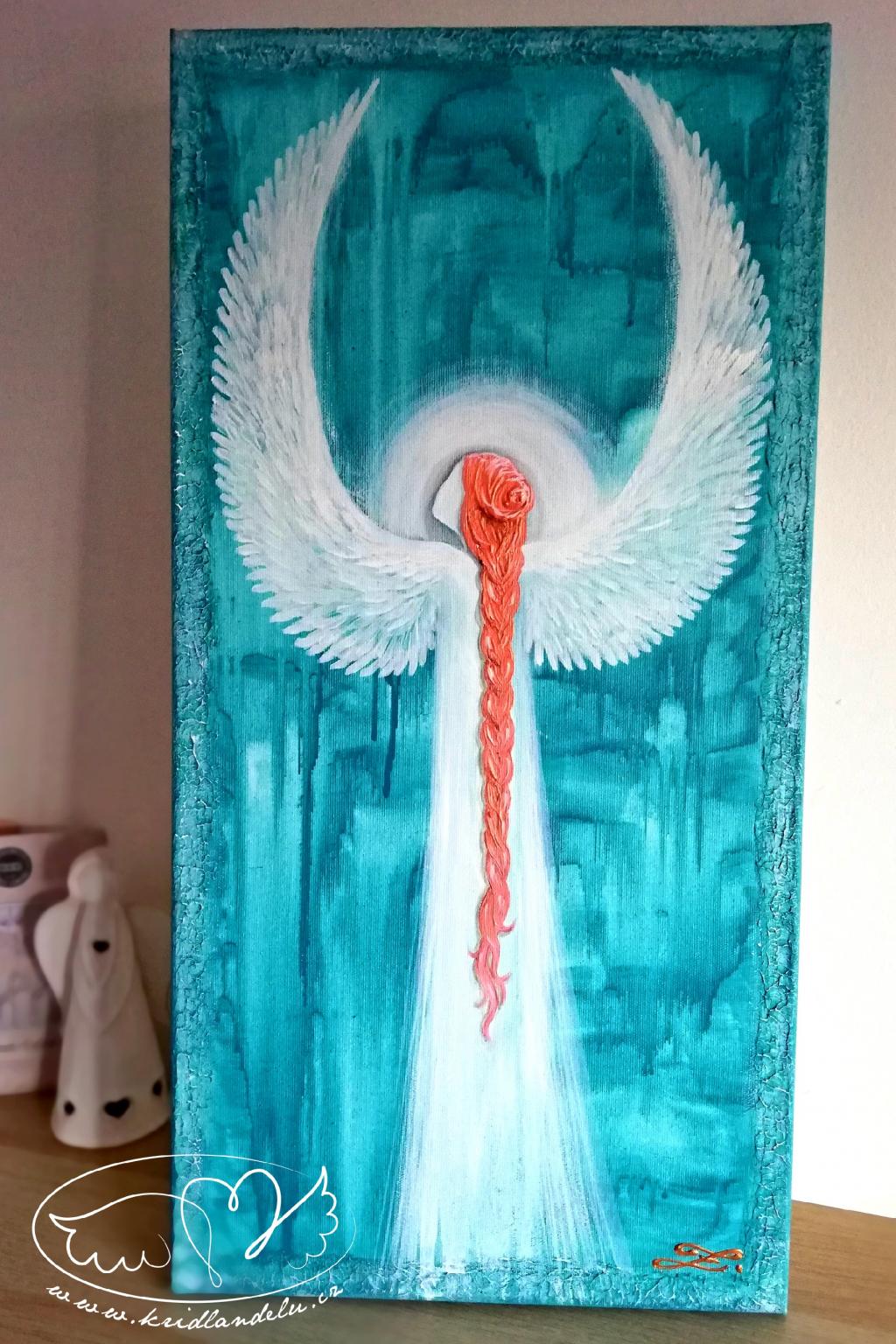 Obraz - Anděl Radosti- Olej na plátně 60x30cm