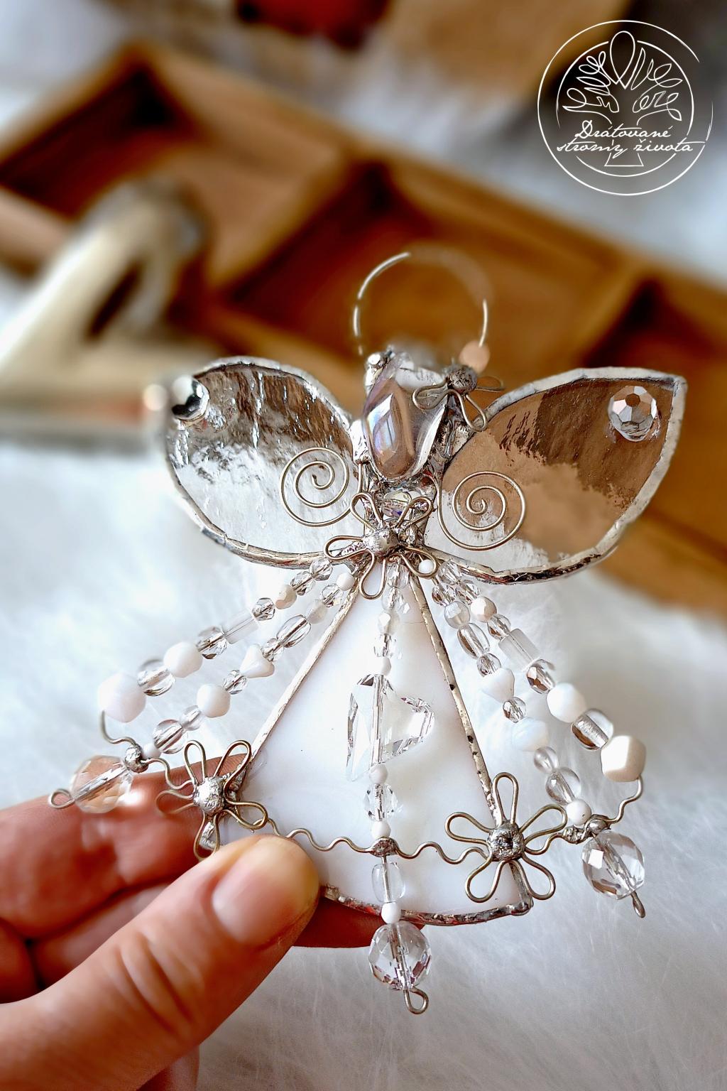 Andělská vitráž - Křišťálový léčitel 14cm