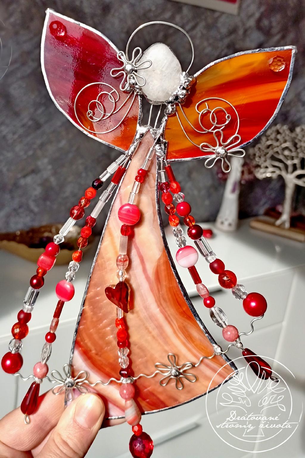Andělská vitráž - Červánkový čaroděj 20cm