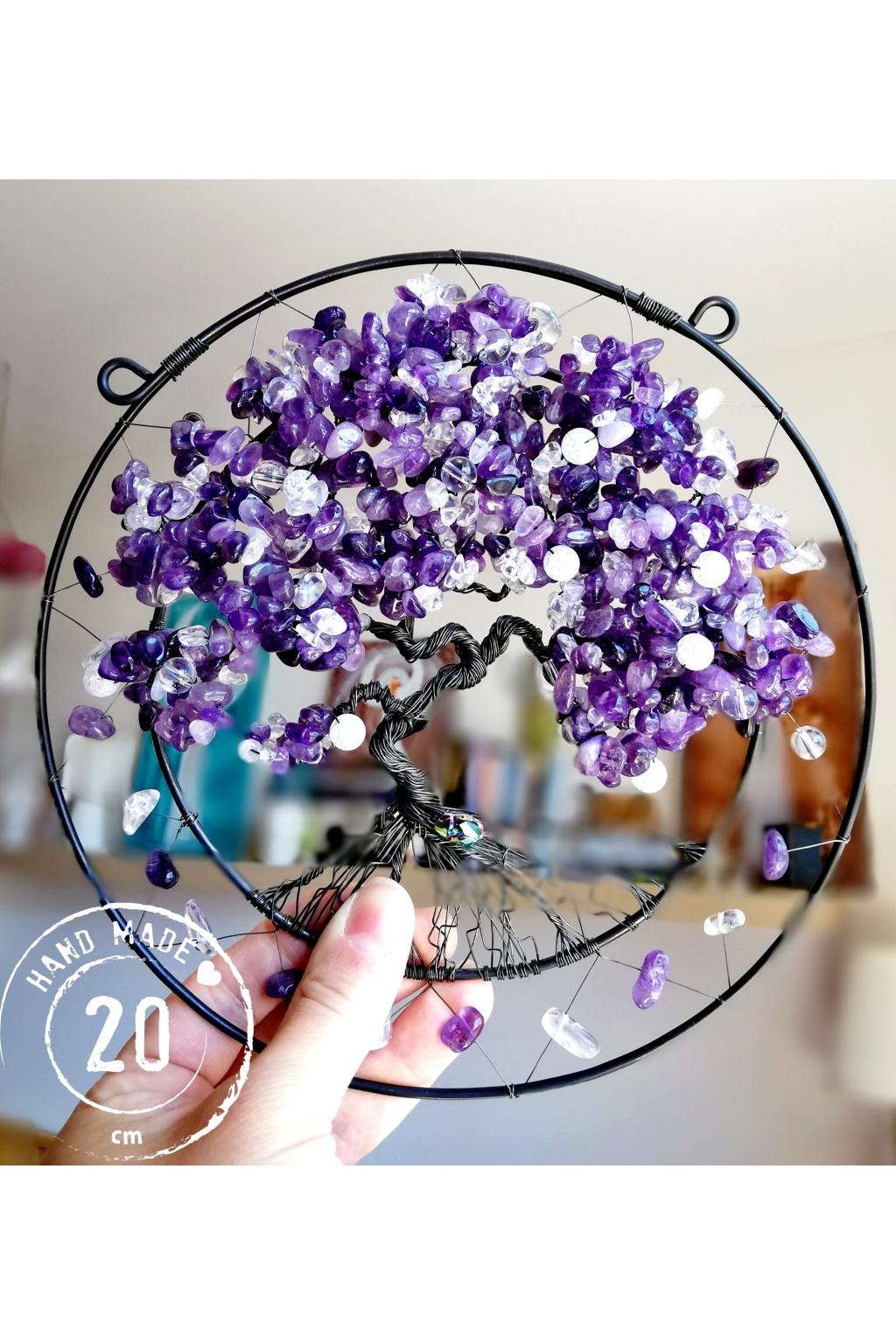 Drátovaný strom života z polodrahokamů - Ametystový strom splněných přání 20cm