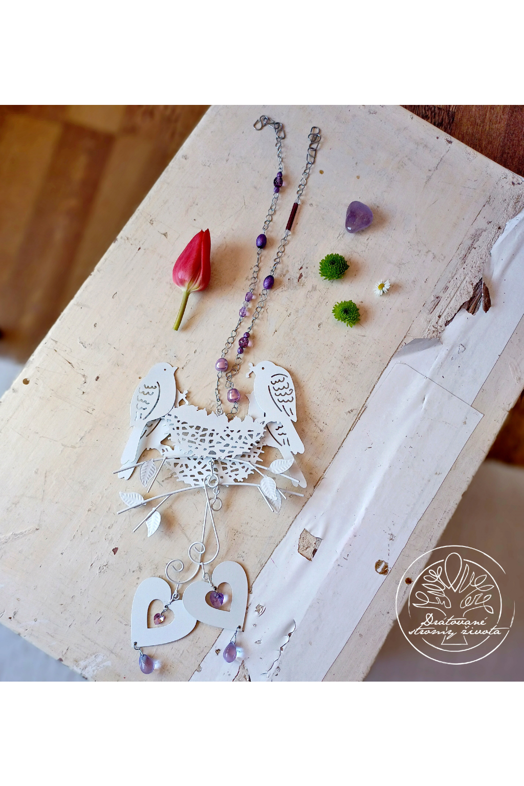 Závěs s ptáčky a srdcem Swarovski - fialový 55cm