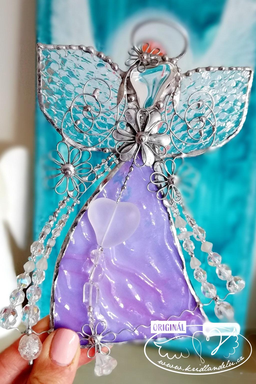 Andělská vitráž - Duchovní ochránce 20,5cm