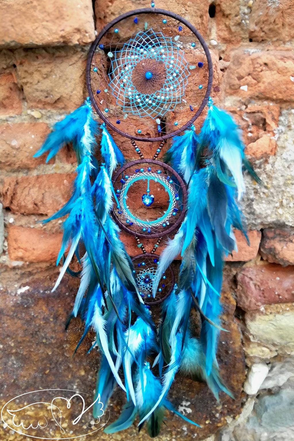 Lapač snů - Mystický čaroděj s polodrahokamy a srdíčkem Swarovski 16x80cm