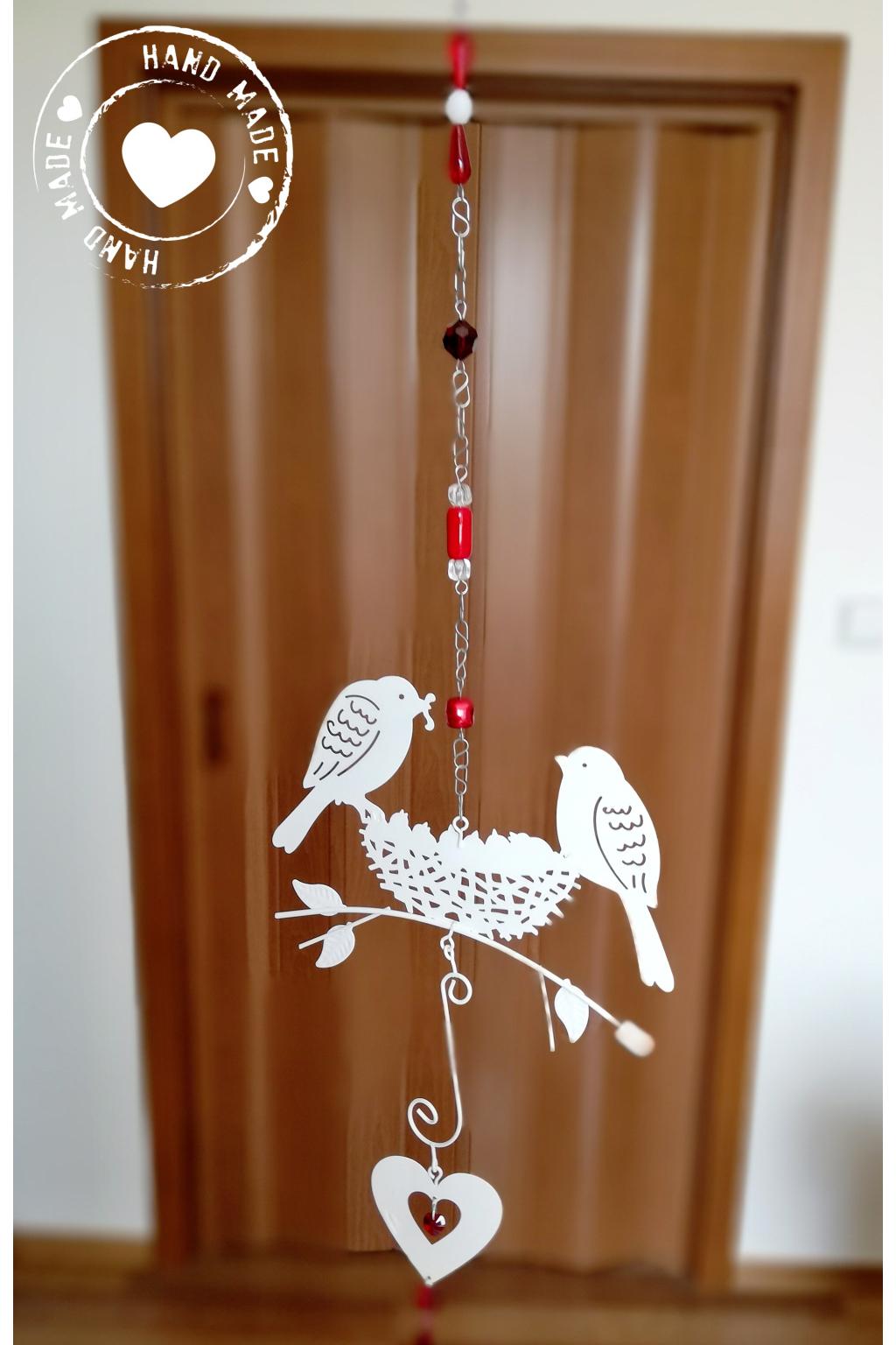 Závěs s ptáčky a srdcem Swarovski - červený 55cm