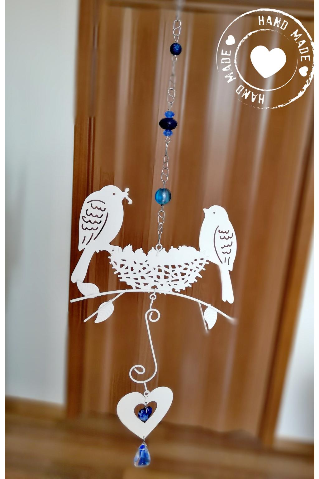 Závěs s ptáčky a srdcem Swarovski - modrý 55cm