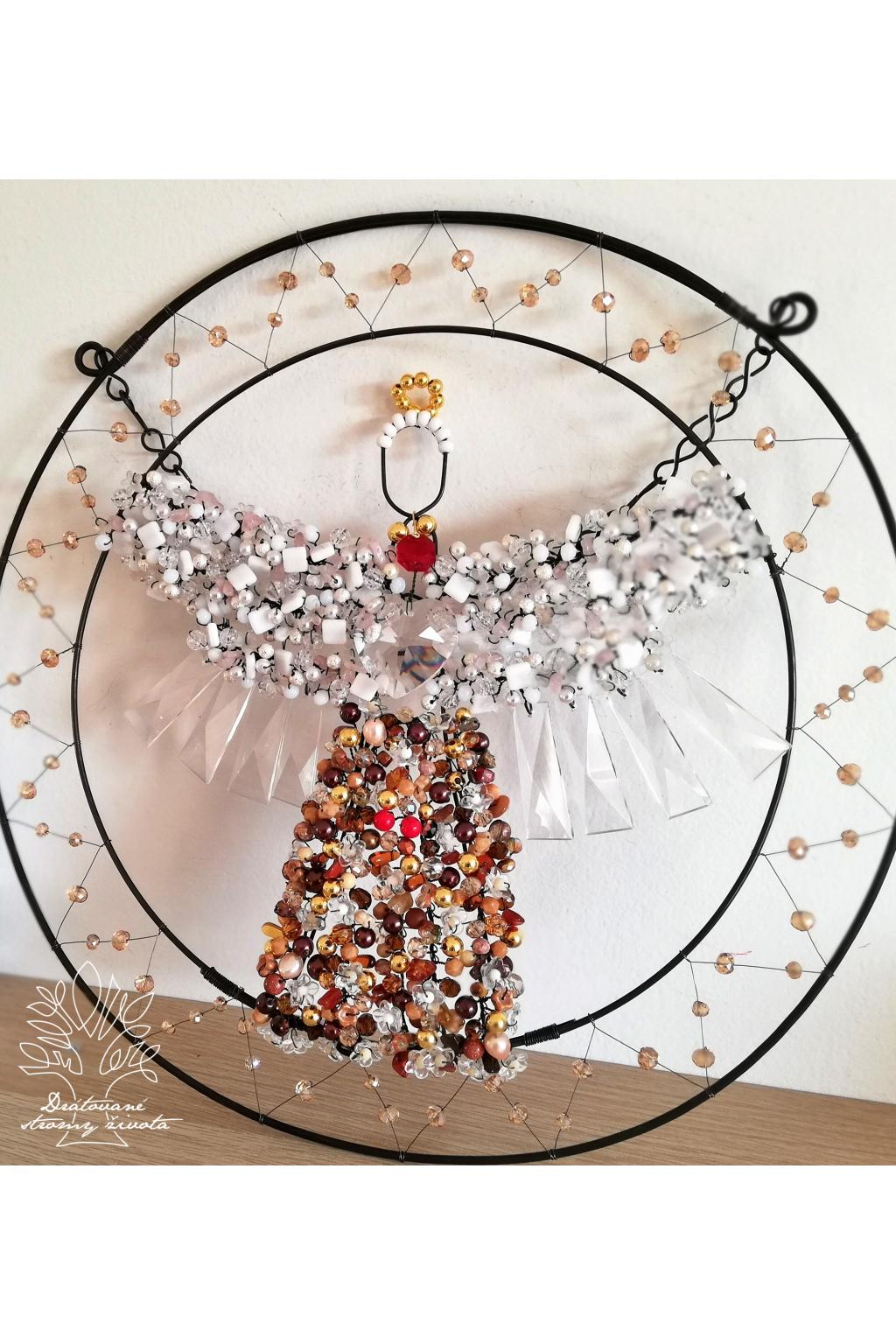 Drátovaný anděl - Hojnost bohatství a domov 35cm