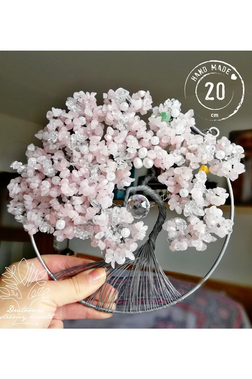 Drátovaný strom života Polodrahokamy Růženínový Něha a láska 20cm