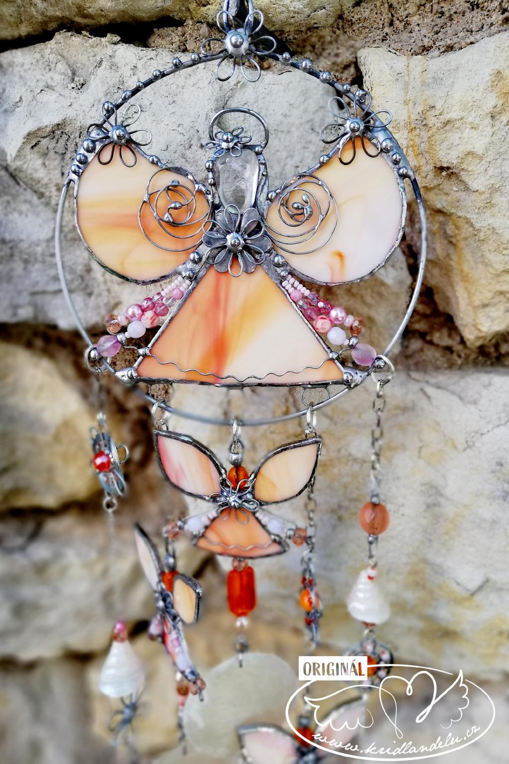 Andělská zvonkohra Tiffany Červánkový čaroděj 50cm