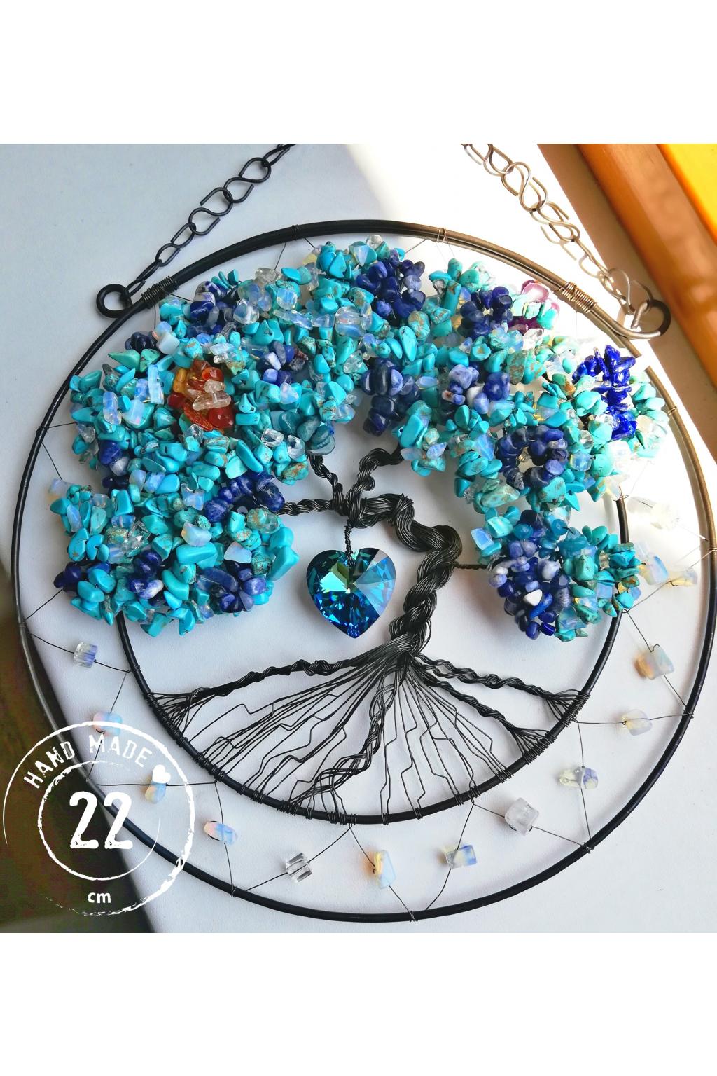 Drátovaný strom života z polodrahokamů - Vnáším mír do mysli i ducha  22cm