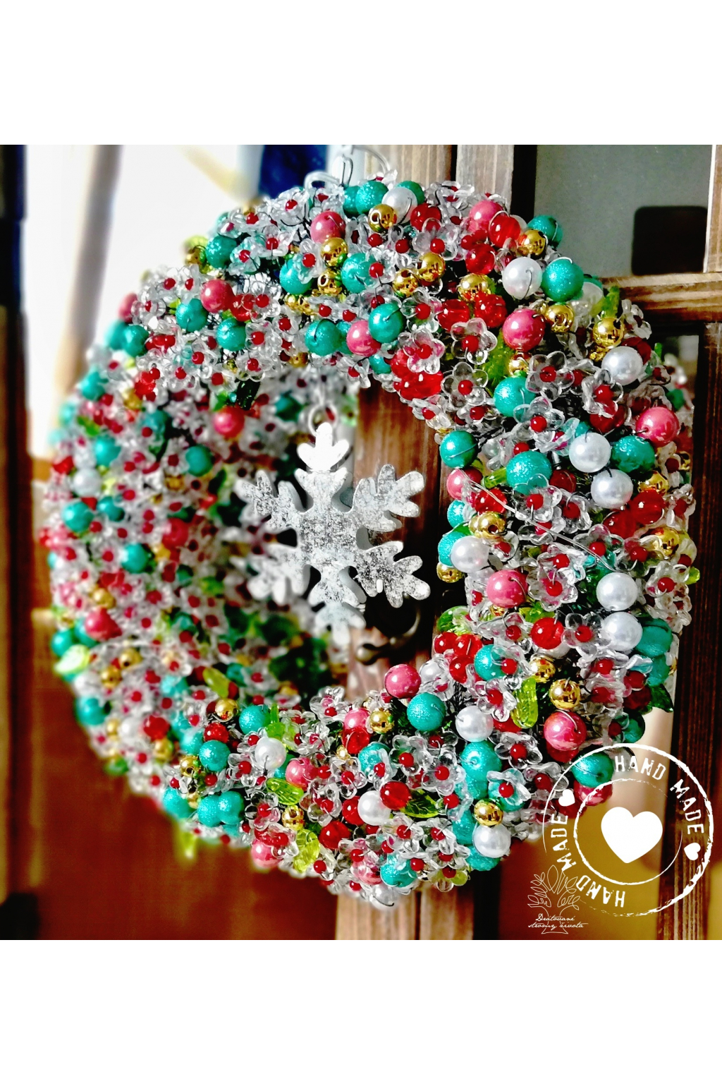 Věnec Vánoční LED - Vánoční čas 23cm